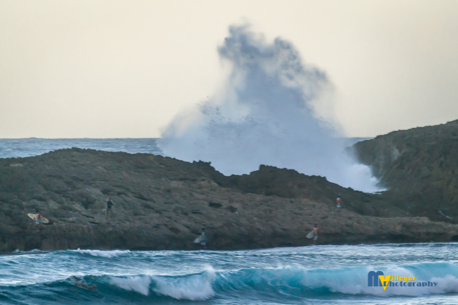 Typical northern beach. Notice the large wave activity. - Jobos Beach