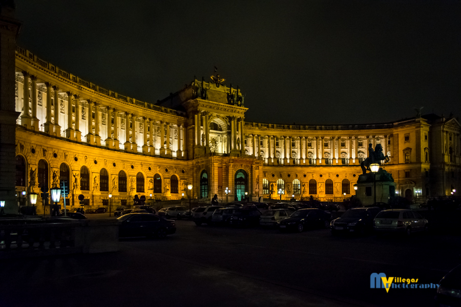 Hofburg Palace at night.