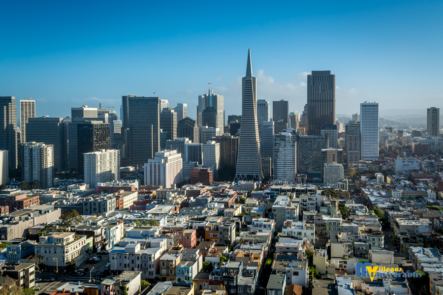 Beautiful view from Coit Tower. San Francisco skyline.