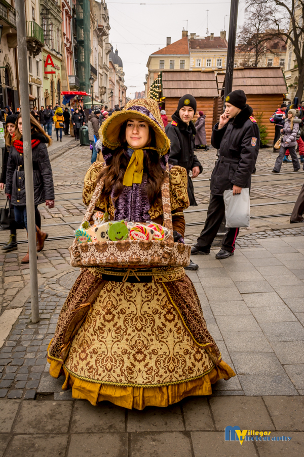 Chocolates and candy girl in Rynok Square