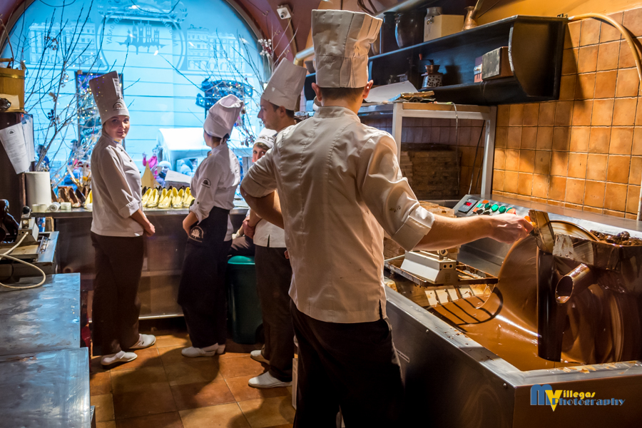 Chocolatiers hard at work making magical morsels of heaven.
